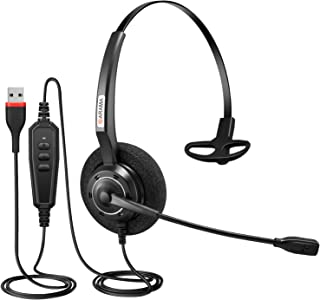USB Headset with Microphone Noise-Cancelling & Audio Controls Wideband Computer Headset for Skype Business UC, Webinar Cal...