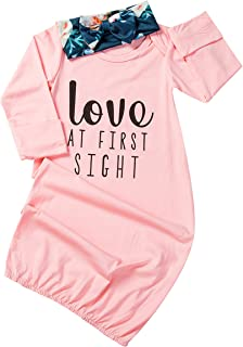 Newborn Baby Girl Love at First Sigth Floral Nightgowns Headband Sleepwear Sleeping Bag
