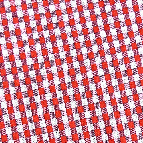 0,5m Vichy-Karo klein 3mm Stoff rot/ weiß Meterware 100% Baumwolle