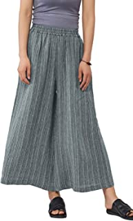 Ladies Womens Casual Loose Linen Elastic Waist Relaxed Trousers Cropped Wide Leg Culottes Pants US S-3XL US 6-18