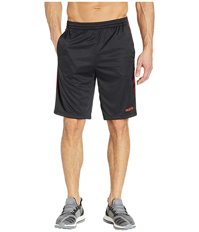 adidas D2M 3-Stripe Shorts (Black/Scarlet) Men
