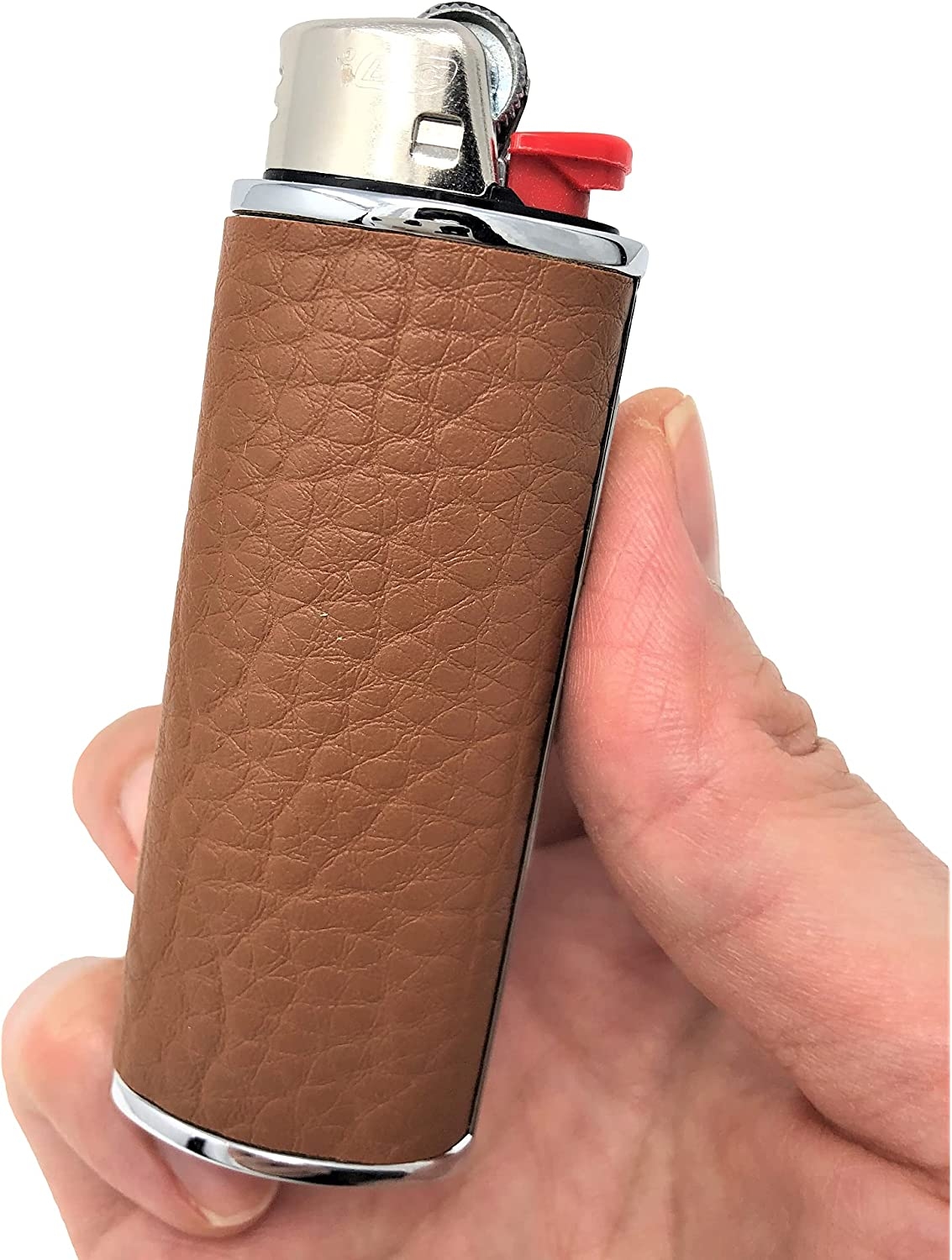 Metal Leather Lighter Case Cover free Holder BIC Fees free fits Full Standard S