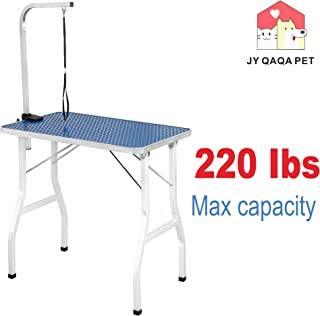 JY QAQA PET Pet Dog Grooming Table for Home with Adjustable Arm,Professional Foldable Drying Table for Small/Medium Dogs Cats Portable Non-Slip Maximum Capacity Up to 250lbs(32