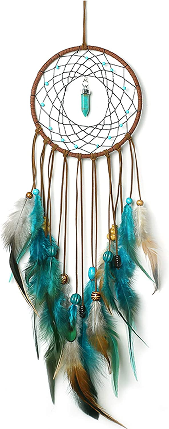 PGYFIS Dream Catcher Handmade Traditional Feather Wall Hanging Home Decoration Decor Ornament Crafts Pendant Valentine's Day Gift Pendant (Blue)