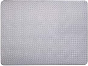 Resilia - Grill and Garage Protective Mat - Decorative Embossed Diamond Plate Pattern - Silver, (3 Feet x 4 Feet)
