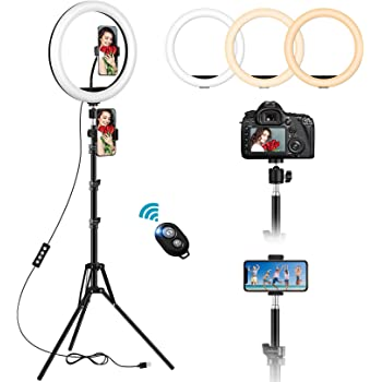 12'' Selfie Ring Light with 59'' Extendable Tripod Stand & 2 Phone Holders, Dimmable LED Circle Light with Remote Shutter for iPhone, YouTube Video Shooting, Live Stream, Camera