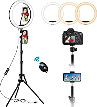 $36 » 12'' Selfie Ring Light with 59'' Extendable Tripod Stand & 2 Phone Holders, Dimmable LED Circle Light with Remote Shutter ...