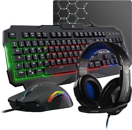 The G-LAB Combo ARGON E – Juego de teclado para juegos 4 en 1 AZERTY retroiluminado, ratón gamer 3200 DPI, micrófono para juegos, alfombrilla de ratón ...
