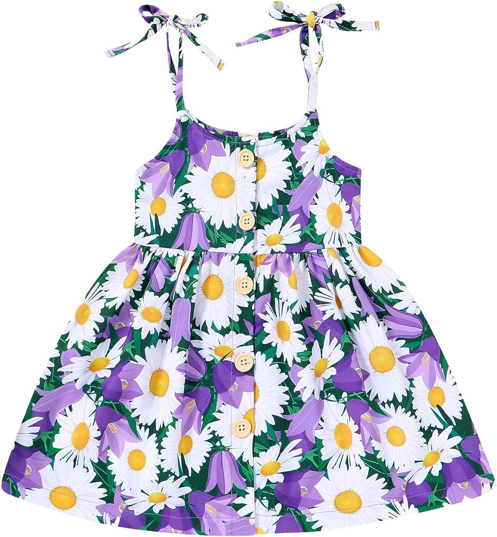 1-5T Toddler Kids Girls Summer Dress Sling Floral Casual Dress Daisy Pattern Girls Party Dress Sleeveless