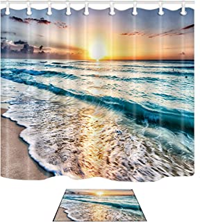 NYMB Ocean Shower Curtain, Sand Beach Wave Sea Water Pattern Set, 69X70in Waterproof Polyester Fabric Bathroom Curtain Set with 15.7x23.6in Flannel Non-Slip Floor Doormat Bath Rugs