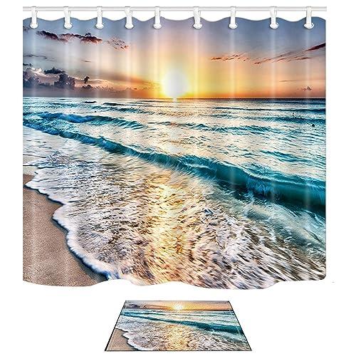 Fabric Shower Curtain With Matching Bath Rug Amazoncom