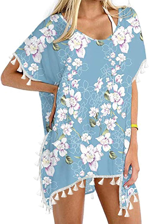 Swim Cover Up for Women's Chiffon Swimsuit Tassel Floral Bathing Suit Stylish Beach Bikini Dress Loose Tunic Swimwear