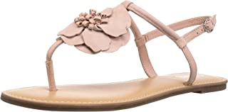 Womens Adalyn Faux Suede Flower T-Strap Sandals