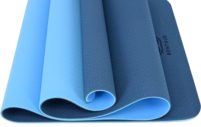 fitness tappetino antiscivolo in TPE per yoga pilates tappetino da yoga Bontour Tappetino da pilates ginnastica 183 x 61 x 0,6 cm tappetino per esercizi sportivi