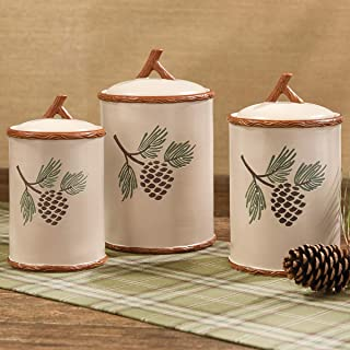 Black Forest Decor Northern Pinecone Stoneware Canister Set
