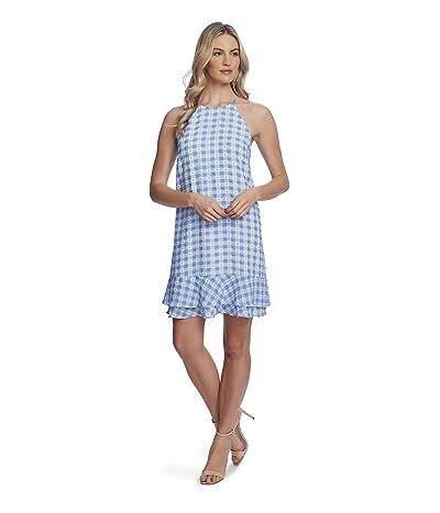 CeCe Sleeveless Tiered Ruffle Gingham Dress (Light Cerulean) Women