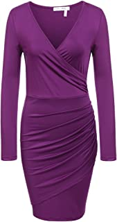 ANGVNS Women Casual Short Sleeve Round Neck Business Cocktail Pencil Dress