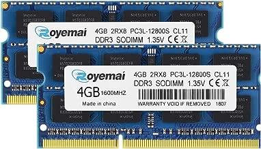 8GB DDR3L-1600 Sodimm, ROYEMAI 8GB DDR3 Kit (2x4GB) PC3L-12800S 2RX8 1.35V 204 pin 4GB RAM Memory Module for Laptop