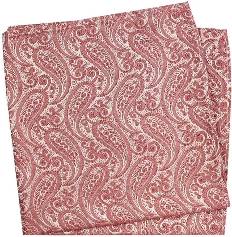 David Van Hagen Mens Tonal Paisley Silk Handkerchief - Fuchsia Pink