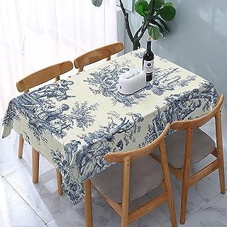 Bordsduk Toile De Jouy återanvändbara rektangulära bord matbord polyester vattentät oljebeständig bordsskydd 137 x 183 cm