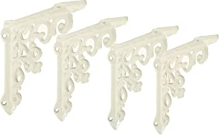 NACH js-90-061AW Cast Iron Victorian Shelf Mount Bracket, Small 4.92 x 1.18 x 4.92 Inches, White, 4 Pack