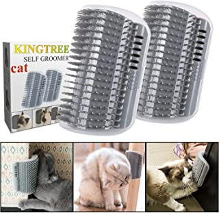 Kingtree 2 PCS Cat Self Groomer, Cats Corner Groomer Wall Corner Massage Comb Grooming Brush Perfect Massager Tool for Long & Short Fur Kitten Puppy - Grey
