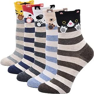 Womens Animal Socks with Ears Cute Soft Cartoon Socks Casual Cotton Novelty Crew Socks Gift Socks