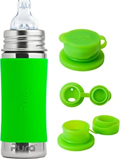 Pura Kiki Stainless Steel 11 Ounce Toddler Sippy Bottle with Green Silicone Plus 1 Big Mouth Sport Top