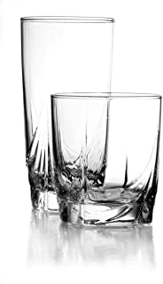 Luminarc N8767 16 Piece Ascot Tumbler Set, 8-16.5 Ounce Coolers & 8-13 Ounce Double Old Fashion Glasses, Mixed, Clear