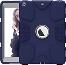 Hocase iPad 9.7 2018/2017 Case Rugged Heavy Duty High-Impact Shockproof Hard Rubber Protective Case for Apple iPad 5th/6th Generation A1822/A1823/A1893/A1954 - Navy Blue/Grey