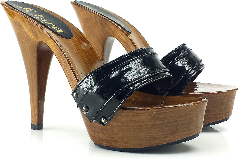 Kiara shoes Leather Black high Heel Clogs Heel 13 - K9101 black v