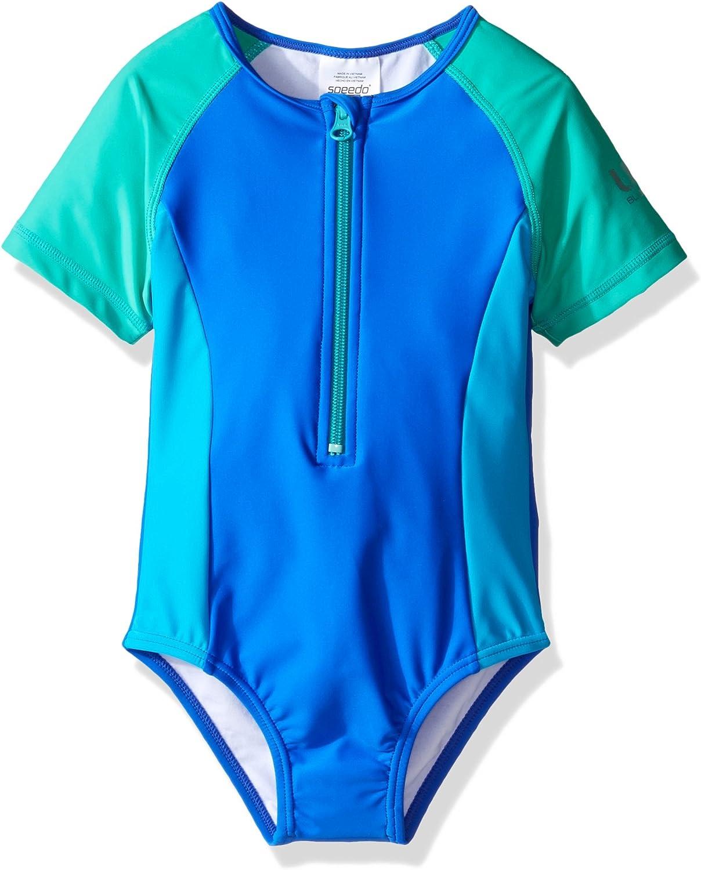 Speedo Toddler Short Sleeve Zip One Piece Swimsuit