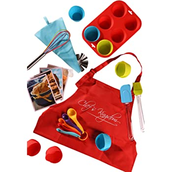 Riki's Kingdom Kids real baking cupcake set with recipes/Muffin Pans/decorating kit, Measuring Spoons,whisk,Spatula,Pastry Brush/Gift Giving Box (Baking cupcake set with kid Apron)