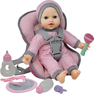 Doll Travel PlaySet - Baby Doll Car Seat Carrier Backpack with 12 Inch Soft Body Doll Includes Doll Bottles and Toy Access...