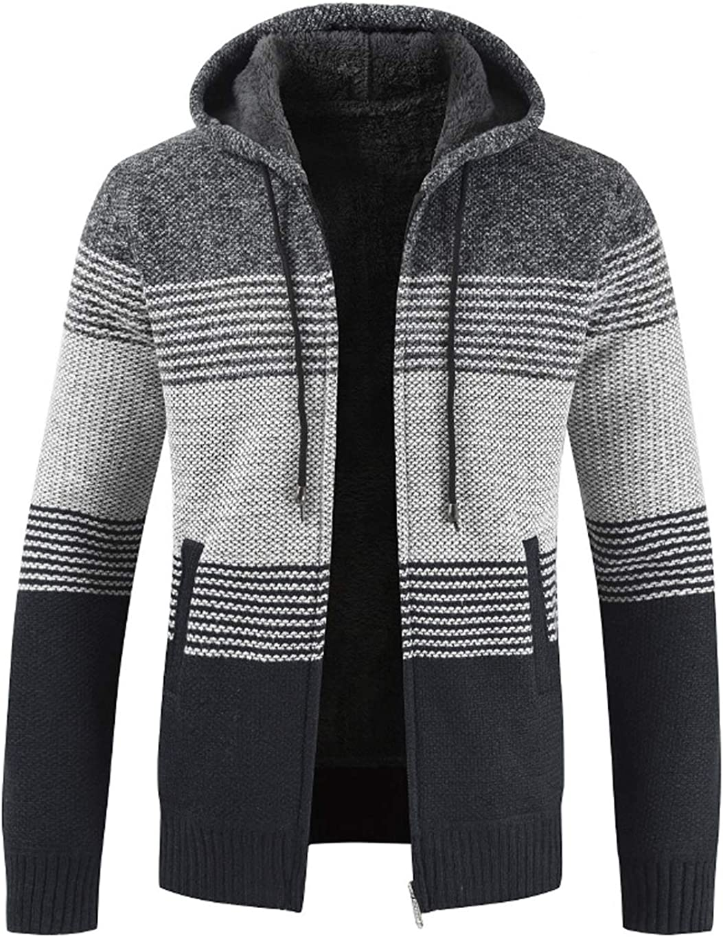 chouyatou Men's Thickened Sherpa Lined Contrast Color Hooded Knit Sweater Cardigan