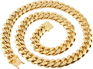 8-18MM Rock Necklace for Men Stainless Steel Jewelry Chain Curb Chain Punk Rock Necklace Gold Chain Men 18-30Inch