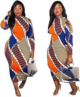 029892f3b301 Ekaliy Women Sexy African Midi Dresses - with Long Sleeve Bodycon Poker  Pattern