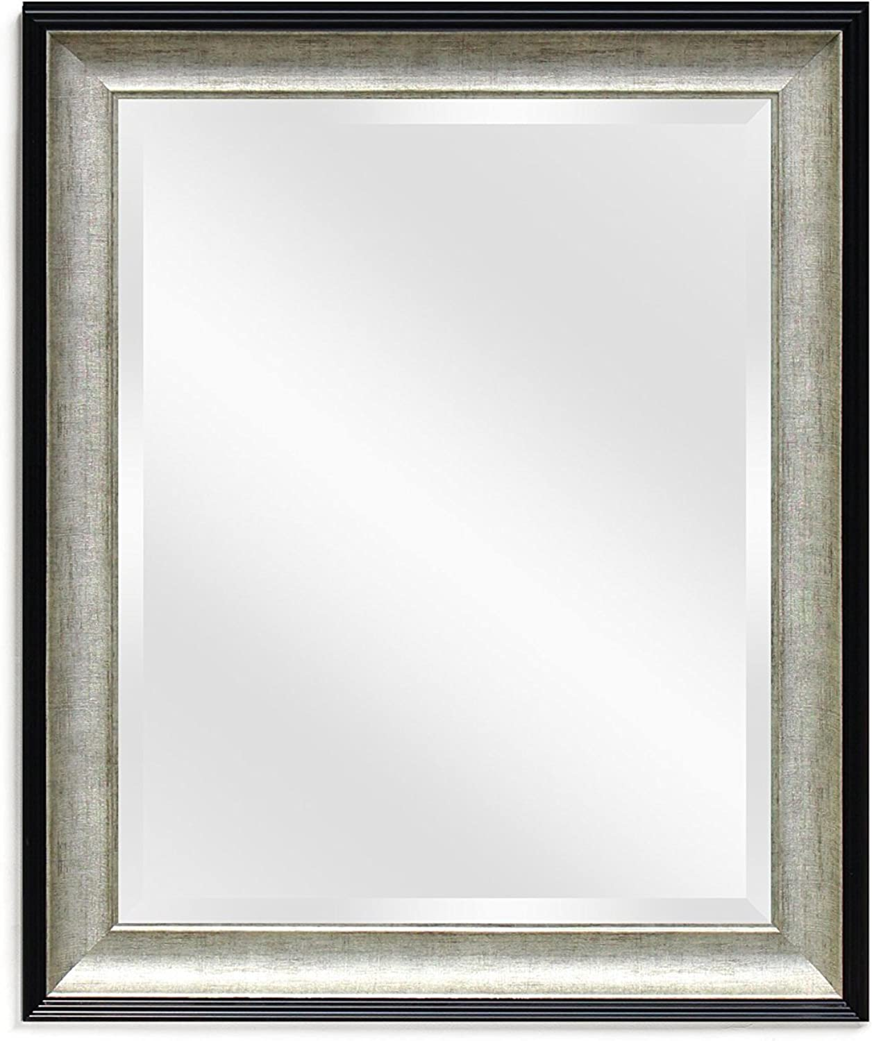 Wall Beveled Black Mirror Framed - Bedroom or Bathroom Rectangular Frame Hangs Horizontal & greenical by EcoHome (26x32, Black Silver)