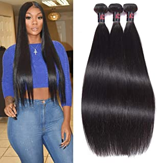 3 Bundles Malaysian Straight Hair Deals Unprocessed Mink 8A Malaysian Virgin Human Hair Weae Remy Human Hair Extensions (20 22 24inches, Natural Color)