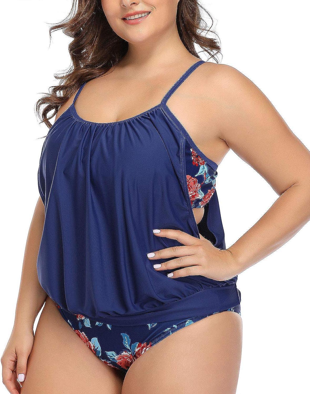 Daci Women Plus Size Tankini Swimsuits Blouson Double Up Tummy Control Two Piece Bathing Suits