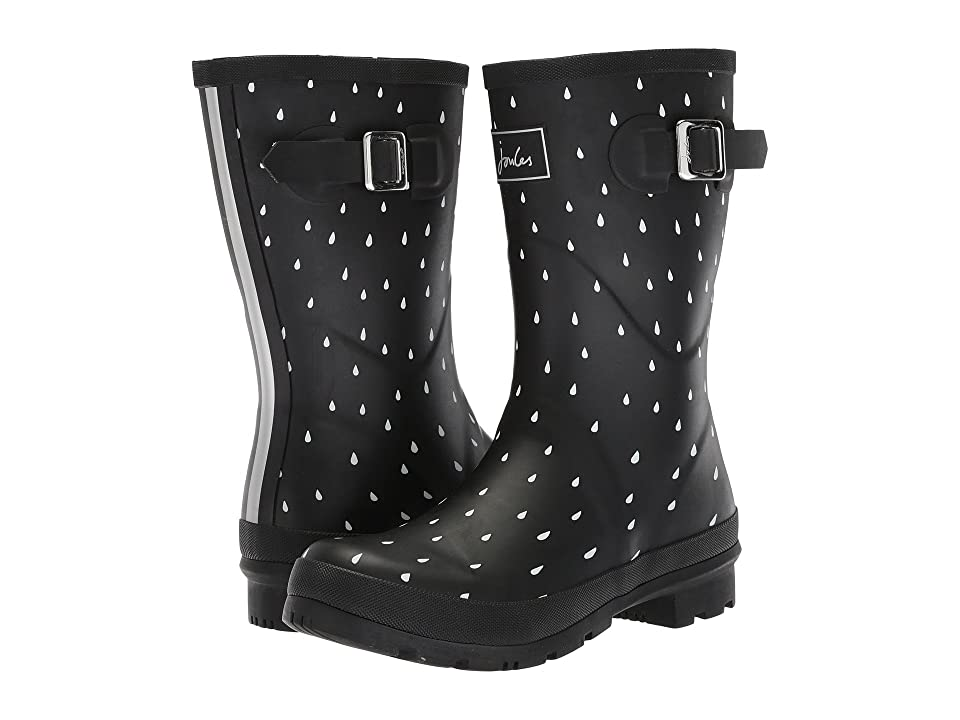 Joules Mid Molly Welly (Black Raindrops Rubber) Women