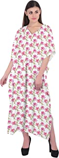 RADANYA Women's Caftan Beach Cover Up Swimsuit 3/4 Sleeve Cotton Kaftan Floral Print