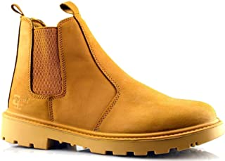 Grafters Mens Leather Safety Steel Chelsea Dealer Slip On Ankle Work Boots Shoes Size 6-14