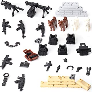 Kolobok Weapon Pack - Guns and Equipment for Soldier Minifigures Custom Action Toy – Military Building Blocks Kit – Modern Army Warfare – Building Bricks Accessories – 48 pcs Major Brands Compatible