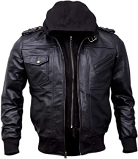 Mens Genuine Black Hooded Bomber Leather Jacket   Real Lambskin Waxed Brown Leather Jackets for Men with Removable Hood