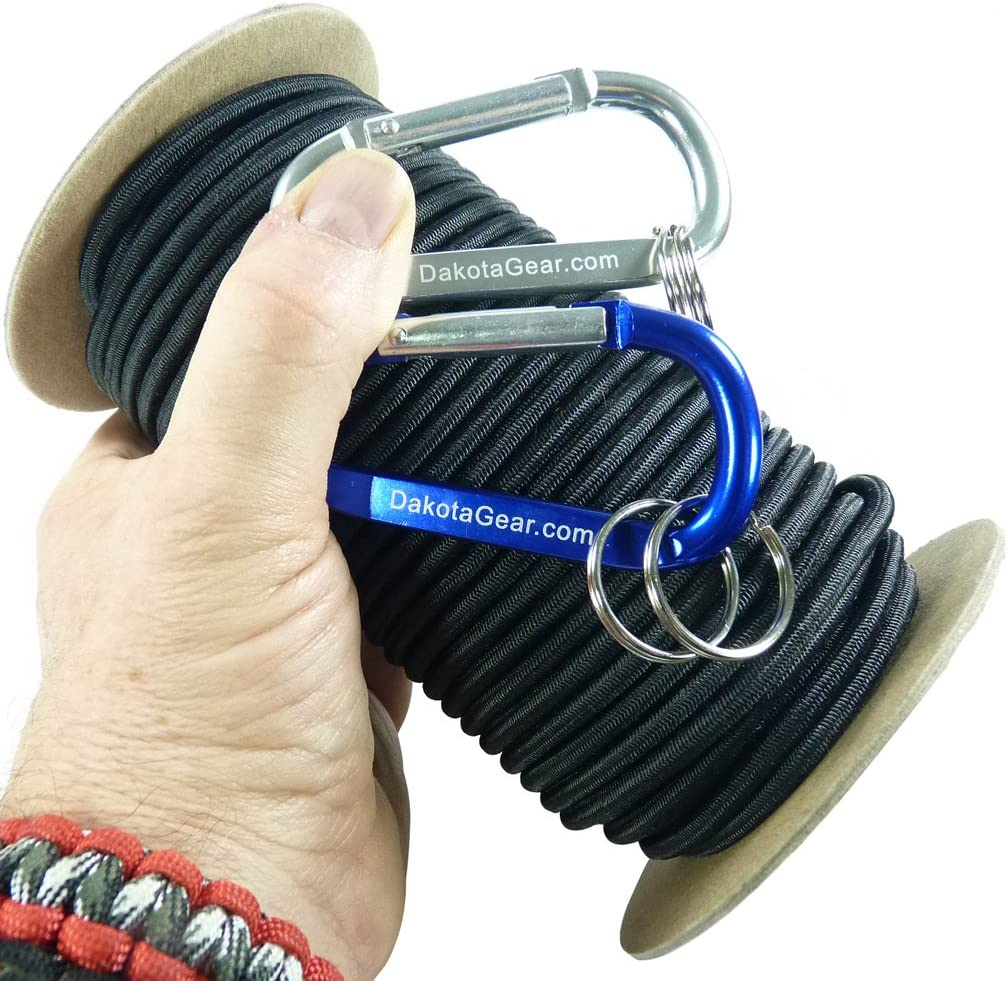 """Also Called Bungee Cord Cosmic Black 1//4/"""" x 25 ft Dakota Gear Shock Cord Stretch Cord /& Elastic Cord TM 2 Carabiners and Knot Tying eBook. Hank Made in USA Marine Grade"""