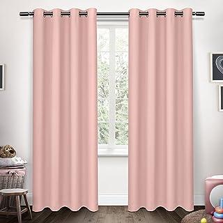 Exclusive Home Curtains Sateen Kids Woven Blackout Grommet Top Panel Pair, Bubble Gum, 52x96, 2 Piece