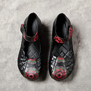 2019 Spring New Mother Shoes Hand-Woven National Wind Shallow Mouth Middle-Aged Women's Single Shoes (Color : Black, Size : 39)