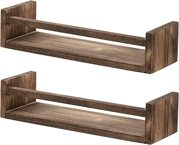 NEX Floating Shelves Wall Mounted Set Of 2 Rustic Wood Wall Storage Shelves Perfect Decor To Display Books