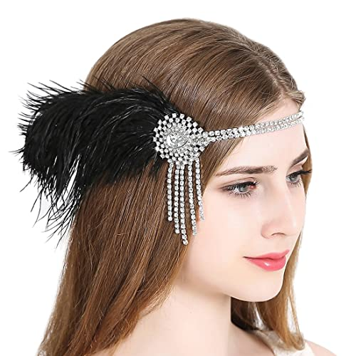 Vintage Flapper Headband 1920s Art Deco Gatsby Feather Headpiece Sparkling  Hair Accessories Black 0867fc7f613